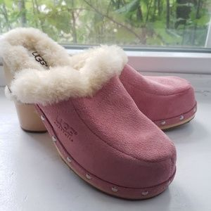 Ugg Womens Pink Suede Sherpa Clogs Size 6 EU 37
